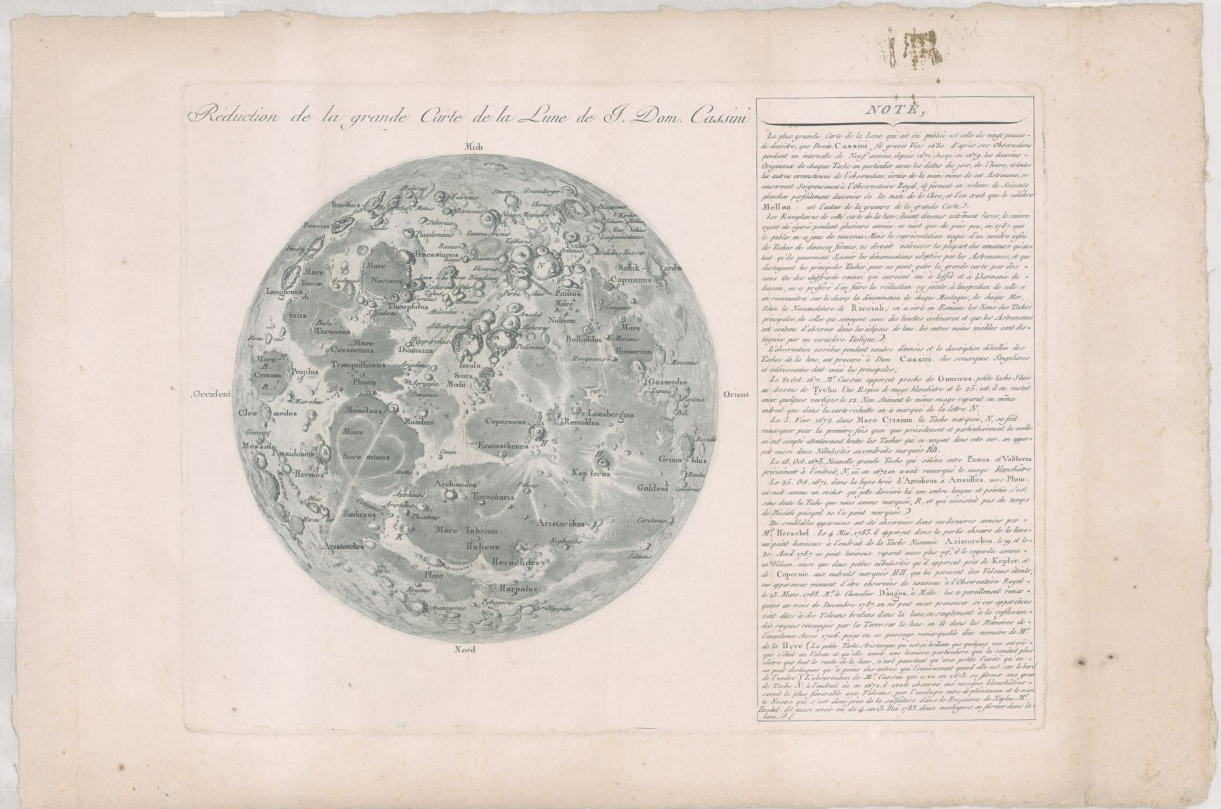 Can you find the lady in the moon? Réduction de la grande carte de la lune by Giovanni Cassini [Paris, France?] : [publisher not identified], [1788] National Library of Australia