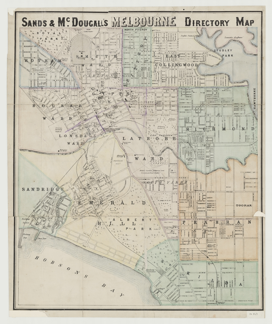 Sands & McDougall's Melbourne directory map 1869