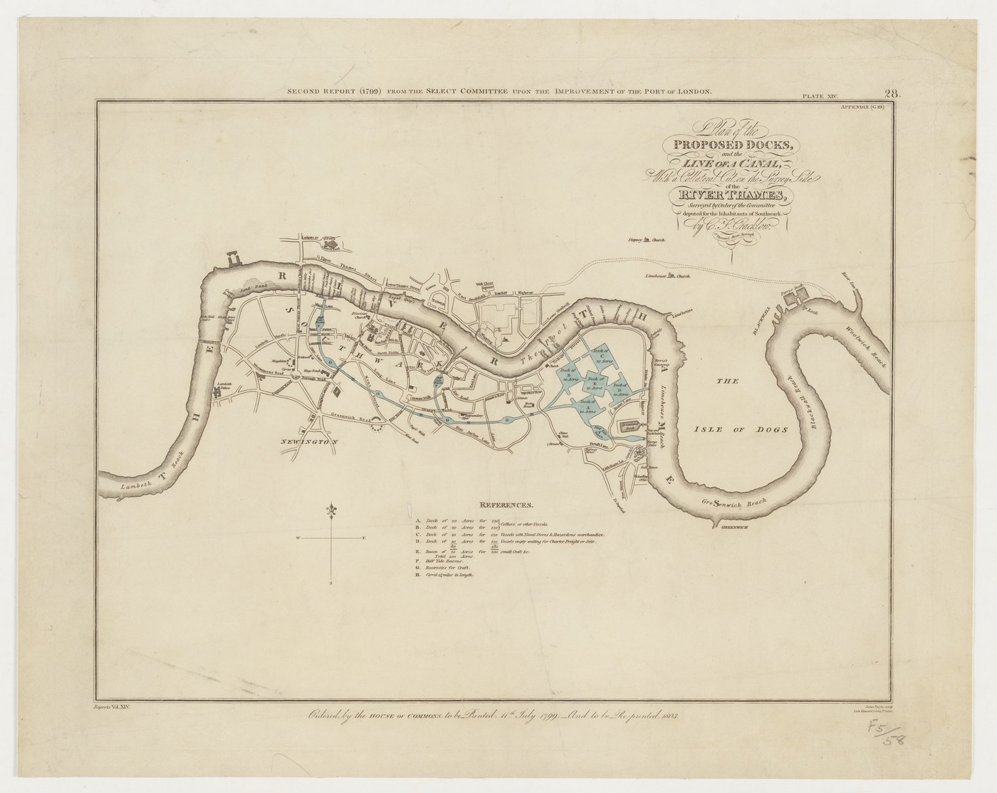 Plan of the proposed docks and the line of a canal with a collateral cut on the Surrey side of the River Thames, 1799 from the State Library of New South Wales